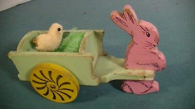 Easter Rabbit Pulling Cart With Spun Cotton Chic