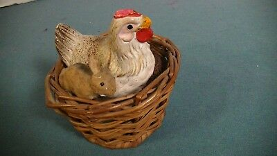 Vintage Easter Basket With Chicken And Rabbit