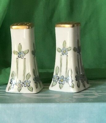Vintage Limoges Beautiful Hand painted And Signed salt and pepper Shakers