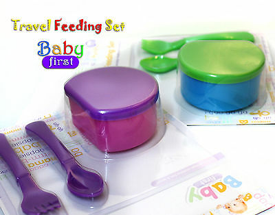 2X Baby Travel Feeding Weaning Set Starter Food Bowl With Lid & Spoon Set