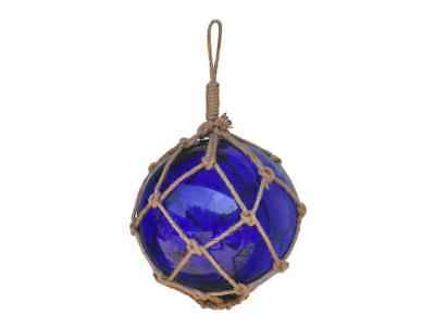 """Blue Japanese Glass Ball Fishing Float With Brown Netting Decoration 12"""""""