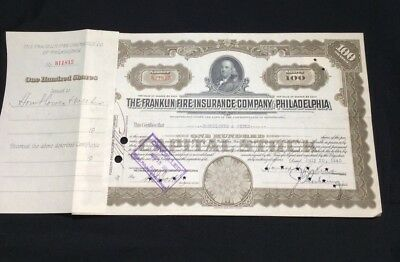 Franklin Fire Insurance Company of Philadelphia Stock Certificate
