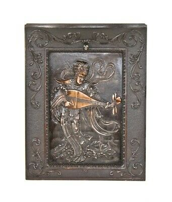 Cast Iron Figural Summer Cover With Costumed Man Playing Mandolin