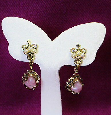 Vintage Screw-On Drop Earrings Antique Look Faux Pearls Pink Stone  1018