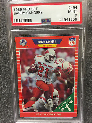 1989 Pro Set Barry Sanders Rookie Rc Card 494 Detroit Lions Mint Psa 9 1256
