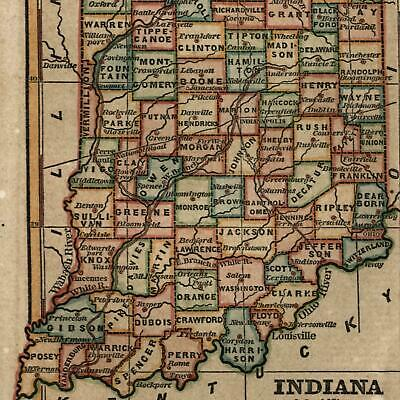 Indiana state by itself 1853 Ensign & Phelps small antique hand color map