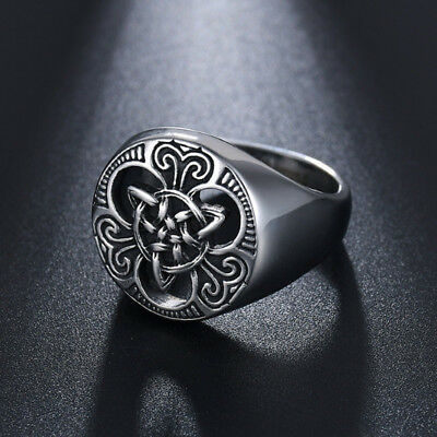 Silver Vintage Men Titanium Steel Finger Ring Ancient Gothic Knot Ring B