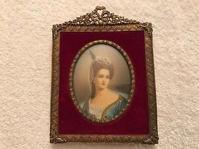Antique 19thc Miniature Portrait Painting Women Framed