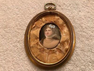 19thC Antique Miniature Portrait Painting Gold Gilded Brass oval Frame