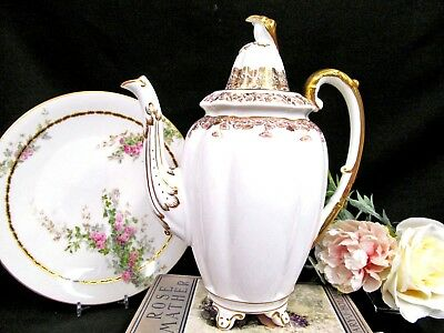 Royal Stafford stunning gold Regent pattern footed coffee pot teapot fancy