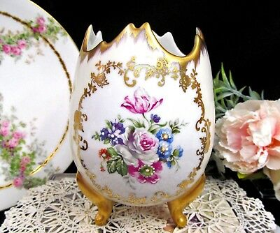 Limoges France footed planter gold gilt hand painted flowers gold legs