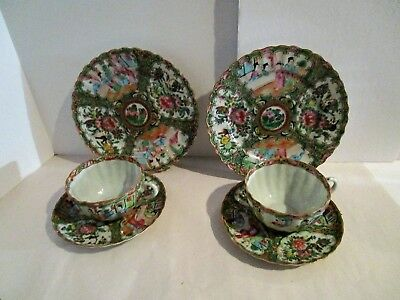 PAIR Antique 19C Chinese Export Rose Medallion Porcelain Cup & Saucer TRIO #2