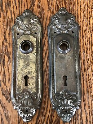 2 Antique Vintage Door Knob Plate Escutcheons With Skeleton Key Hole-Ornate