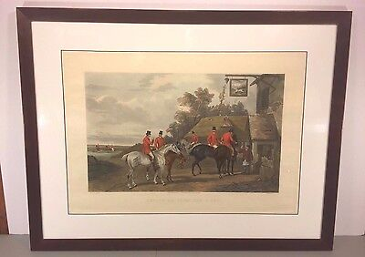 """Antique C R Stock Fox Hunt Engraving """"Return from the Hunt"""" 1883"""