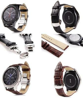 Genuine Leather Butterfly Buckle Watch Band For Samsung Gear S3 Classic/Frontier