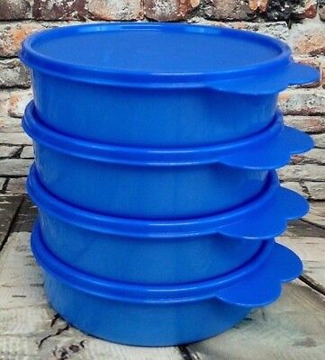 Tupperware Big Wonder Bowls 2-cup - Set of 4 in Lupine Blue with Matching Seals
