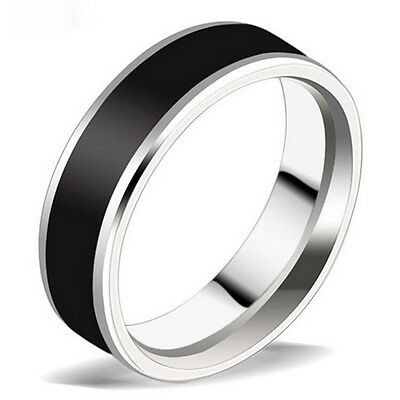 New Jewelry Black Titanium Band Stainless Steel Ring For Men Women Size16-22 CH