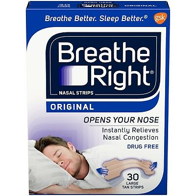 Breathe Right Original Nasal Strips Tan Color Drug Free Large Size 30 Strips
