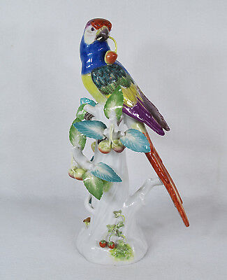"""RARE Antique Meissen Germany  Porcelain Figurine Macaw Parrot with Cherries 13"""""""