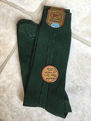 Vtg NOS NWT Men's Mohawk GREEN Ribbed 100% Nylon Dress Socks Hosiery