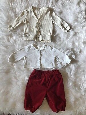 935644d5cbf0 Janie And Jack Baby Gap Lot 3 White Cotton Sweaters Red Velvet Pants 0-