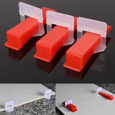 100X Clips&Wedges Flat Tile Leveling System Floor Wall Spacer Tiling Tool 1.0mm#