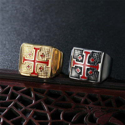 Retro Mens 316L Stainless Steel Crusader Knights Jerusalem Cross Ring Sizes 7-14