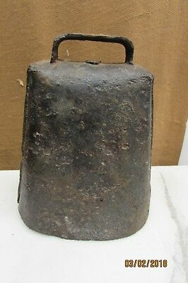 Cow Bell Primitive Antique Hand Forged Heavy Metal Iron Blacksmith
