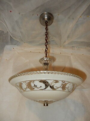 Antique Tan Glass Floral Pattern Art Deco Light Fixture Ceiling Chandelier