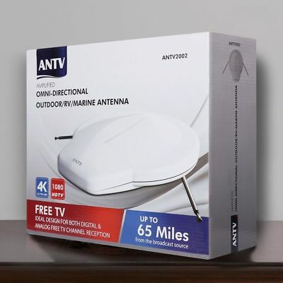 Outdoor Digital Antenna Amplified HDTV 360 Omni-Directional Reception, 65 Miles