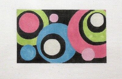 Kelly Clark Round Dots Rectangle Handpainted Needlepoint Canvas