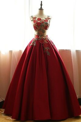Fashionable Red Wedding Bridal Gowns Pageant Party Formal Prom Evening Dresses