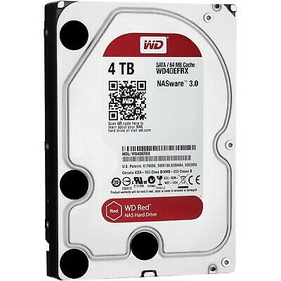 "Western Digital 4TB SATA 3.5"" HDD WD Red  5400RPM 64MB Internal Hard Drive NAS"