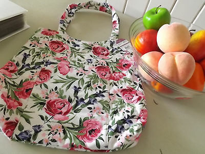 Knitting Tote Storage Bag  Quilted Cotton Shabby Chic Roses design ~  Birch
