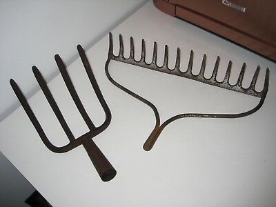 Old Vintage Primitive Garden Cultivator Rake Hoe Head Tines Barn Farm Hand Tool