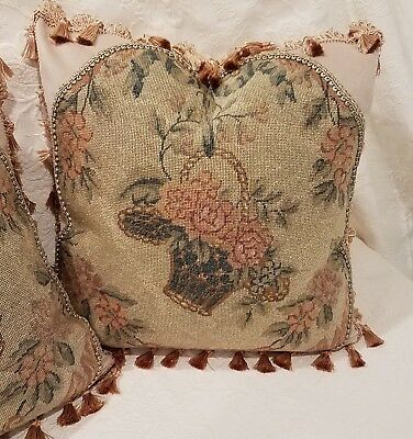 Antique Floral Needlepoint Pillow, Sage Green Peach Salmon , Custom Made