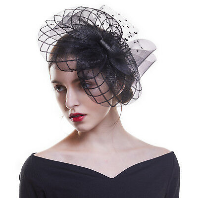 Women Hair Clips Wedding Cocktail Ascot Fascinators Veil Church Hats Feather
