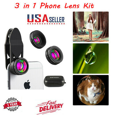 iPhone Camera Lens Kit Pro Macro Lens & Wide Angle Lens Clip-On Cell Phone Lens