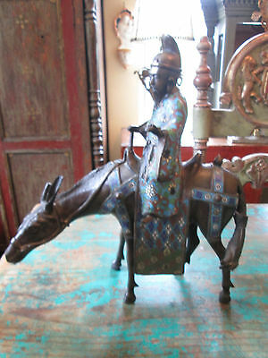 19th/18th Qing Dynasty Bronze and Cloisonne Immortal on Horseback