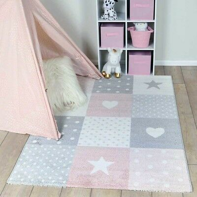 Lala Pink Grey Hearts & Stars Fun Modern Kids Floor Rug - 2 Sizes *FREE DELIVERY