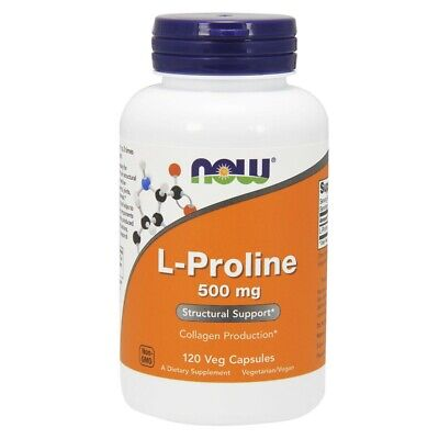 Now Foods L-Proline 500mg - 120 vegane Kapseln L-Prolin Aminosäure
