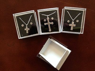"JOB LOT-3 sets of crystal diamante crosses on 17"" chain+0.4cm earrings.Gift box."
