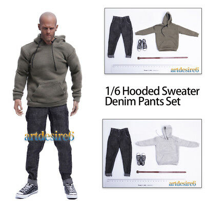 1/6 Soldier Male Pullover Hooded Sweater Denim Pants Set Fit 12'' Body Figure