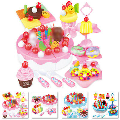 Pink Pretend Role Play Kitchen Toy Birthday Cake Food Cutting Set Kids Funny Hot