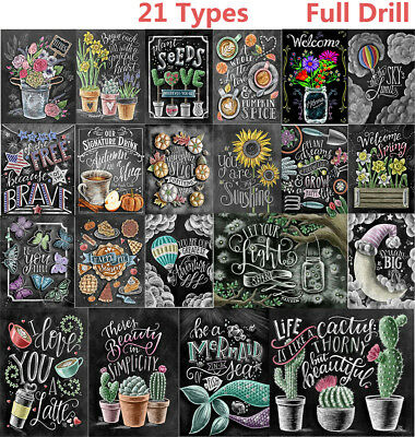 21 Kind Full Drill Blackboard Drawing 5D Diamond Painting Embroidery Craft AU EZ