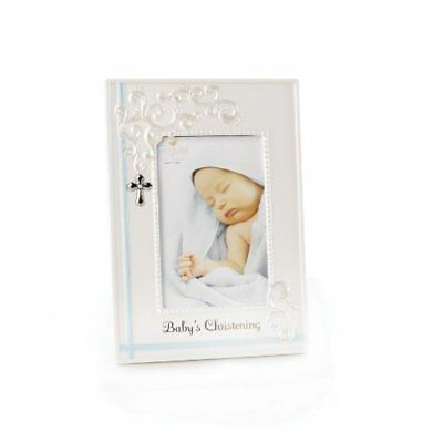 Nat and Jules N00378-DISC Baby's Christening Frame - Blue, Multi-Colored