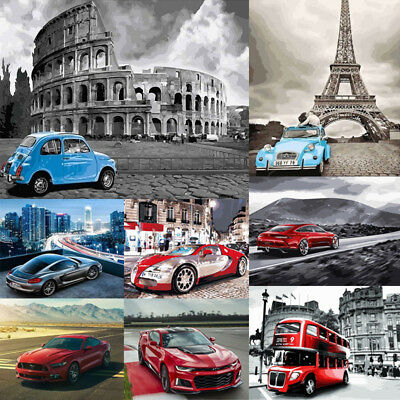 40*50cm Car DIY Paint By Number Kit Digital Oil Painting Artwork Wall Home Decor