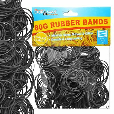 400 x Strong Elastic Rubber Bands for Home School Office Stationery 150g Black