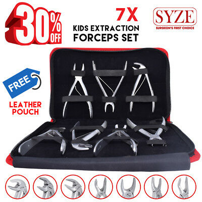 Dental Kids Tooth Extraction Forceps Upper Lower Molars Roots Lab Tools 7PCS NEW