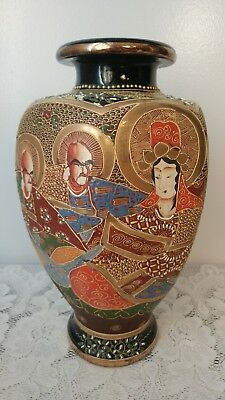 Antique Japanese Satsuma Moriage Pottery Vase 14 7/8'' tall Circa ~1900's